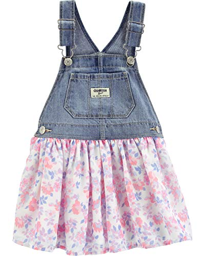 Osh Kosh Girls' Toddler World's Best Overalls, Floral Tulle Jumper, 3T