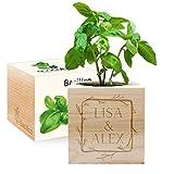 EcoCube personalizzabile con incisione Cornice fiorita (Basilico)