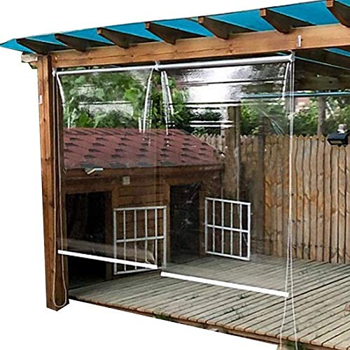 Estor Enrollable Persianas Enrollables para Gazebo Exterior PVC Transparente, Persiana Enrollable Impermeable para Ventana con Kit de Cadena, 150cm/ 140cm/ 120cm/ 100cm de Ancho