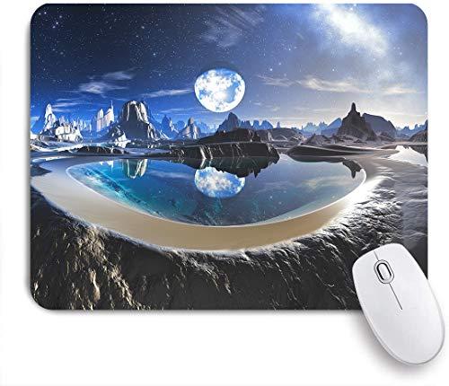 SUHOM Gaming Mouse Pad Rutschfeste Gummibasis,Wasserplanetenreflexion in Alien Rock Pools,für Computer Laptop Office Desk,240 x 200mm