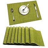 U'Artlines Set di 6 tovagliette woven vinyl PVC resistente al calore e lavabili per il tavolo da pranzo della cucina(6, Verde)
