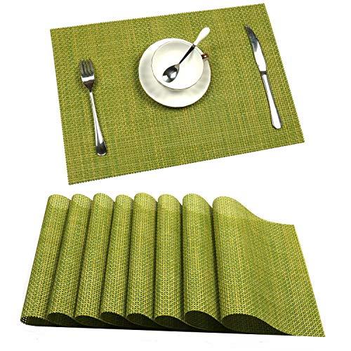 U'Artlines 6er Set Tischsets Waschbare Platzsets Rutschsicher Hitzebeständig Platzdeckchen 45 * 30cm(Grün)