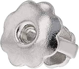 Solid 14k Gold Single Replacement Back for Screw-Back Stud Earrings (14k White Gold, Small Hole)