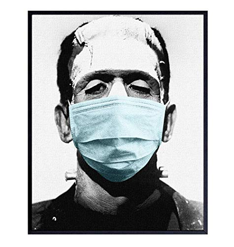 Coronavirus Covid 19 Photo of Frankenstein in Face Covering Buff Mask Wall Art - Pandemic Social Distancing Room Decor, Home Decoration - Goth Horror Movie Poster - Funny Vintage Hollywood Gift
