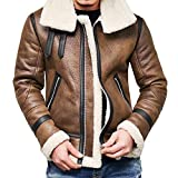 serliy😛Herren Lederjacke,Herren Winter Warm Jacke Pelz Liner Revers Lederjacke mit Fell Herren Outwear Steppmantel Gefüttert Outdoorjacke Parka Übergangjacken Wintermantel