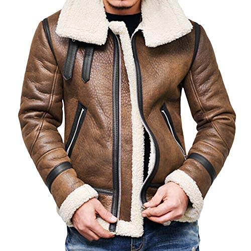 iYYVV Mens Autumn Winter Highneck Warm Fur Lapel Leather Zipper Outwear Jacket Coat Brown