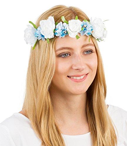 SIX Oktoberfest Haarband Blumenkranz mit großen hellblauen & weißen Stoff-Blüten für Festival Oktoberfest Reh Kostüm an (456-175)