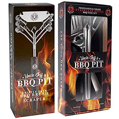"""Heavy Duty BBQ Grilling Tools Set - Professional Grade 18"""" Long Stainless Steel 3-Piece Barbecue Grill Kit Includes Over Sized Spatula, Fork and Locking Tongs"""