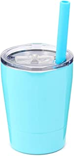 Colorful PoPo Kids Stainless Steel Cup Lovely Small Rambler Tumbler Sippy Cup with Lid and Silicone Straw, 8.5 OZ (1, Teal)