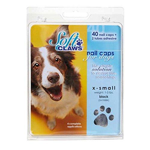 Soft Claws Hunde-Weiche Krallen Hunde und Katzen Nail Kappen Take Home Kit, mittel, schwarz