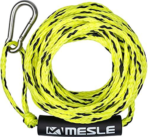 MESLE Schlepp-Leine 2P 50' für Wassersport Tubes und Schleppreifen, mit Schwimmer und Karabiner, Zug-Seil für 2 Personen Towable, Länge 15,2 m, Farbe:gelb