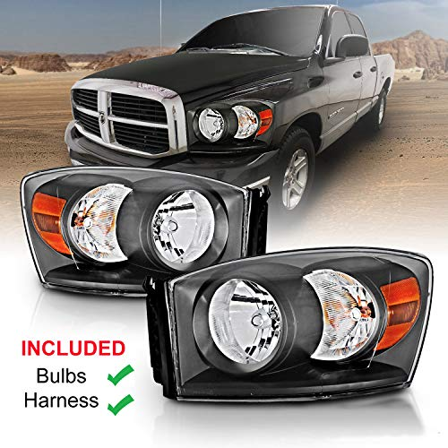 AmeriLite Black Headlights for Dodge RAM (Pair) High/Low Beam Bulb Included