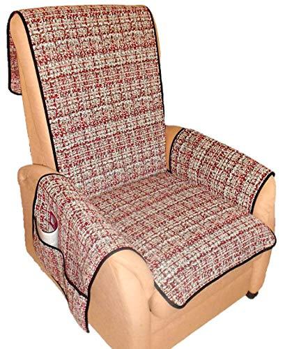 Holzdrehteile Sesselschoner Sesselauflage Sesselbezug Schoner Überwurf Auflage grau rot