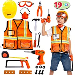 GREAT VALUE PACKAGE: Valuable Costume Role Play Tools Set for Kids including construction-worker costume, hard hat and various plastic tools TOOLS INCLUDES: Orange Vest, hard hat, goggles, mask, hammer, saw, spanner, plier, screw, nut, screw driver a...