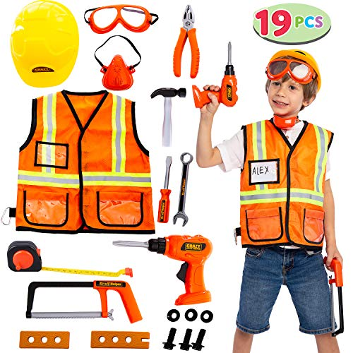 JOYIN Construction Worker Costume Role Play Tool Toys Set for 3-6 Years Old Kids, Great Educational Toy Gift for Halloween Christmas and Birthday