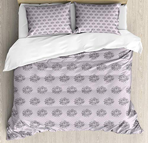 Zozun Floral Duvet Cover Set, Image of Vintage Style Hand Drawn Flowers and Polka Dots, Decorative 3 Piece Bedding Set with 2 Pillow Shams, Pale Mauve Charcoal Grey Pale Taupe