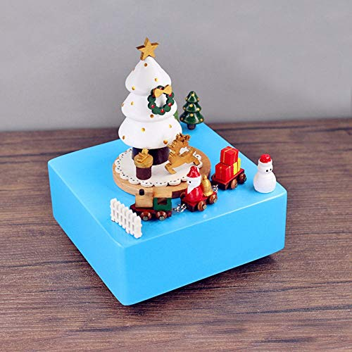 Bradoner Nordic Wood Blue Car Chassis Santa Claus Gift Music Box Music Box Home Furnishings Gifts Ornaments Personalized Birthday Gift 11 * 11 * 15CM
