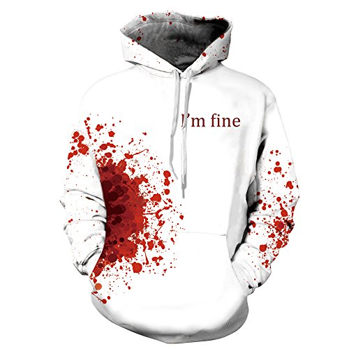 Little Hunter Plus Size Unisex 3D Digital Print Galaxy Pullover Hoodies Pockets Sweatshirt (L/XL, I'm fine)