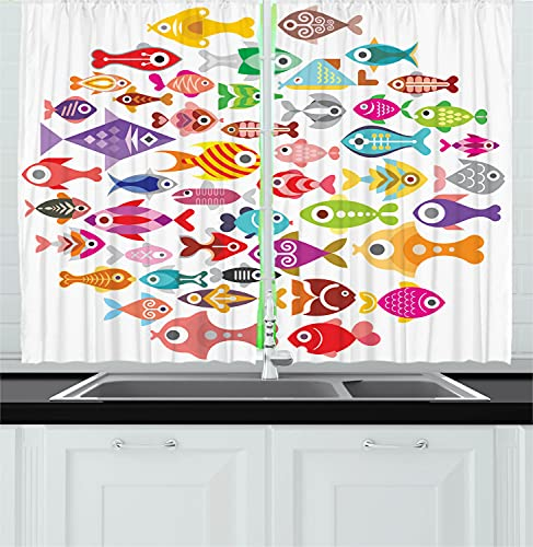 """Ambesonne Fish Kitchen Curtains, Rounded Different Size Type Fish Motifs Underwater World Exotic Fauna Gills Design, Window Drapes 2 Panel Set for Kitchen Cafe Decor, 55"""" X 39"""", White Red"""