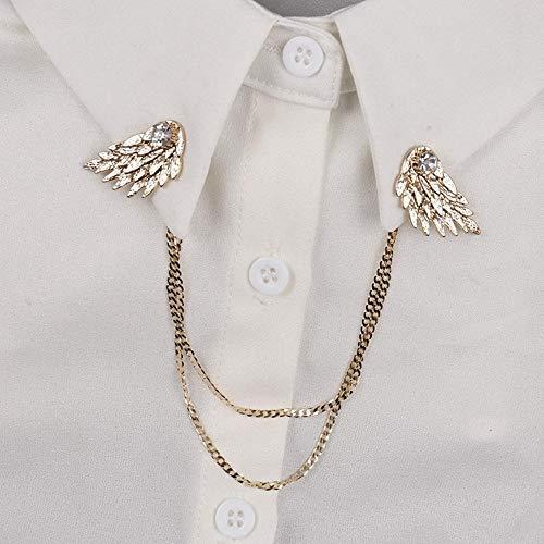 Dorado Doble ángulo de Estrella Pin de ala Cadena de Metal Pin Camisa Camisa Cuello Superior Aguja Corbata Pin de Solapa Joyas para Hombres y Mujeres-A