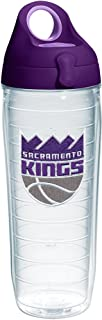 Tervis NBA Sacramento Kings Primary Logo Tumbler with Emblem and Purple Lid 24oz Water Bottle, Clear