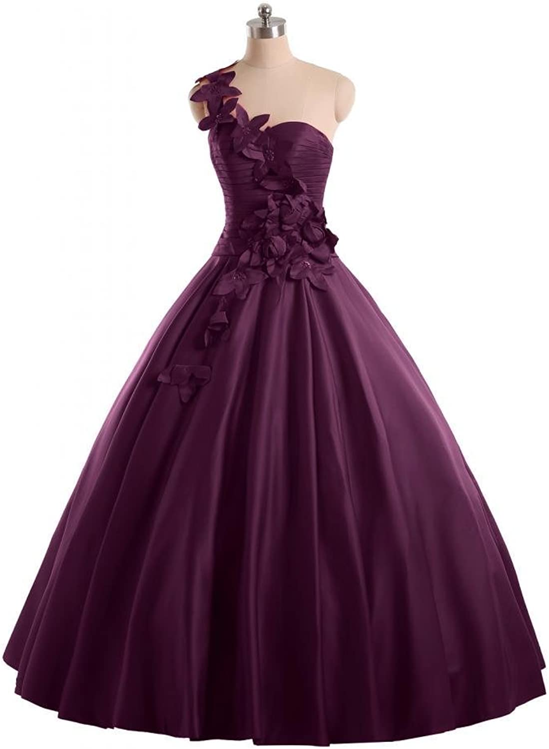 Angel Bride One Shoulder Ball Gowns Satin Floor Length Quinceanera Prom Dresses