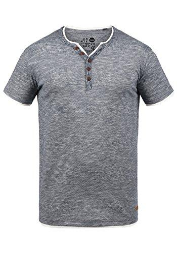 !Solid Digos Herren T-Shirt Kurzarm Shirt Mit Grandad-Ausschnitt Im Double-Layer Look Aus 100% Baumwolle, Größe:M, Farbe:Insignia Blue (1991)