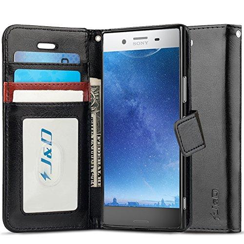 J&D Compatibile per Cover Xperia XZ Premium, [Portafoglio Stand] [Sottile Adatta] Protettiva Robusta Antiurta Flip Custodia per Sony Xperia XZ Premium - [Non per Sony Xperia XZ 6] - Nero