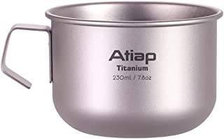 ATiAP Titanium Camping Mug Pot Cup with Handle 7.78 fl oz, 230ML Titanium Water Tea Coffee Cup with Single Wall Design for...