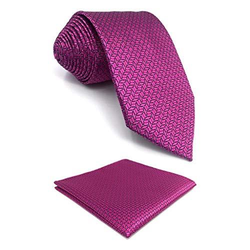 S&W SHLAX&WING Herren Tie Luxury Krawatte Fuschia Color Sólido Classic 147cm y Einstecktücher