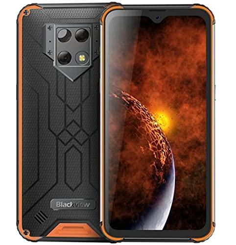 Blackview BV-9800(2020) IP68 Smartphone Resistente - 48MP+16MP Cámara, Helio P70 6GB RAM 128GB ROM, Android 9.0 IP68 Móvil Antigolpes Impermeable,Batería 6580mAh,Carga Inalámbrica NFC DUAL SIM Naranja