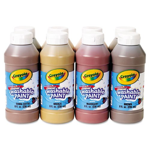 Crayola. 54208W Multicultural Washable Paint Pack, 8 Assorted Colors, 8 oz, 8/Pack