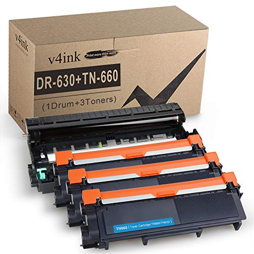 V4INK Compatible Toner Cartridge and Drum Unit Set Replacement for Brother TN660 TN630 DR630 (1 Drum + 3 Toner),for HL-L2340DW L2380DW HL-L2300D L2320D MFC-L2700DW L2740DW L2720DW DCP-L2540DW