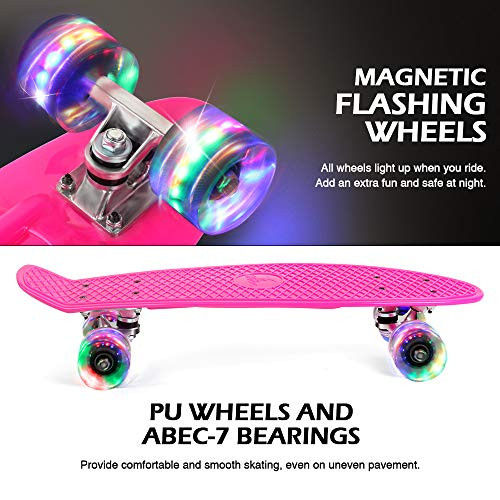 Beleev Skateboard 22 inch Complete Mini Cruiser Skateboard for Kids Teens Adults, Led Light up Wheels with All-in-one Skate T-Tool for Beginners (Rose Pink)