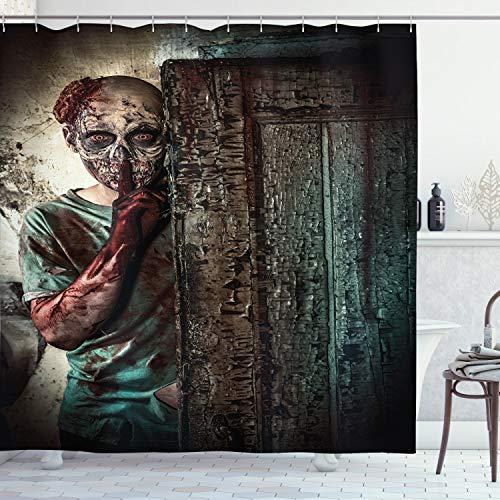 ABAKUHAUS Zombie Duschvorhang, Schlechte Augen Monster, Pflegeleichter Stoff mit 12 Haken Wasserdicht Farbfest Bakterie Resistent, 175 x 200 cm, Umbra Teal Tan