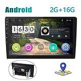 [2G+16G] Radio de Coche Android Pantalla Táctil de 10 Pulgadas Estéreo GPS CAMECHO 2 DIN Bluetooth WiFi Sat Navi FM Enlace de Espejo de Teléfono Móvil Video USB Dual para Automóvil