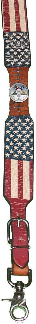 Custom Masonic Eastern Star American Flag Leather Suspenders Galluses or Braces
