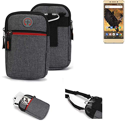 K-S-Trade® Gürtel-Tasche Für Allview P8 Pro Handy-Tasche Schutz-hülle Grau Zusatzfächer 1x