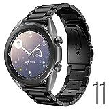 Diruite Correa de repuesto para Samsung Galaxy Watch 3 de 45 mm, chapado de 22 mm, correa de acero inoxidable sólido, correas ajustables de repuesto para Samsung Galaxy Watch 3 bandas, color negro