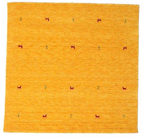RugVista Teppich Gabbeh Loom Two Lines, Kurzflor, 200 x 200 cm, Quadratisch, Gabbeh, Wolle, Schlafzimmer, Wohnzimmer, Gelb