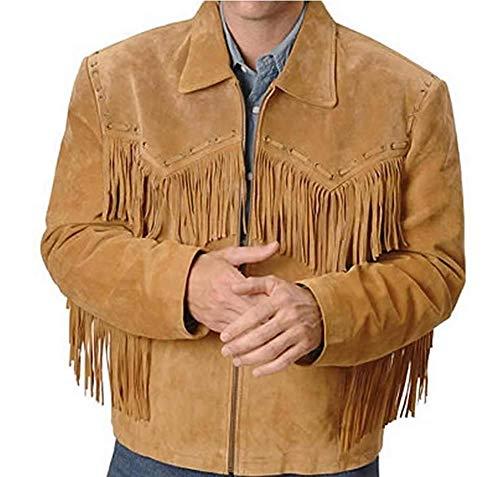 Echte Cowboy Jas Mannen Zwart Suede Western Leren Jas Cowboys Jas Suede Western Jas Cowboys Varsity Jas Western Style Jassen Mens Fringe Jassen