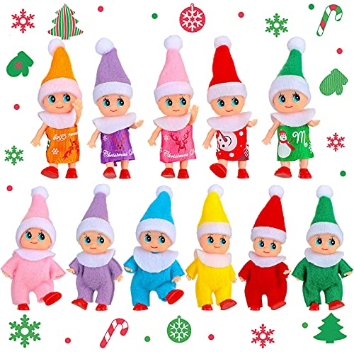 11 Pieces Elf Doll Plush Dolls Elf Tiny Christmas Elves Christmas Novelty Toys Elf Accessories for Little Girls and Boys Holiday Christmas New Year Decorations (Adorable Style)