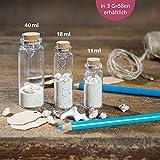 WeddingTree Reagenzglas mit Korken 60 x 11 ml - Kleine Glasflaschen mit Korken und Herz Anhänger - Als Gastgeschenk Hochzeitsdeko Gewürzgläser - 8