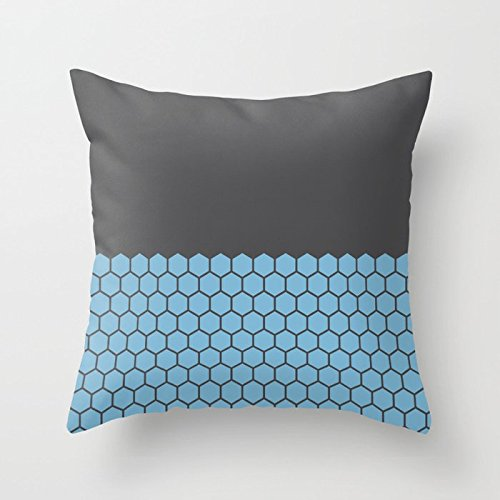 Alicert5II 4 kleuren Dusk Blue and Charcoal Hexagon Honeycomb Half Patroon Pillow and Insert Geometric Pillow Indoor of Outdoor Kussen Cover