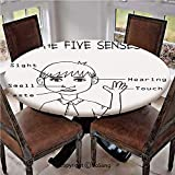 """Elastic Edged Polyester Fitted Table Cover,Five Senses Shown on Little Boy Portrait Explanatory Texts Monochrome Drawing Decorative,Fits up 40""""-44"""" Diameter Tables,The Ultimate Protection for Your Tab"""
