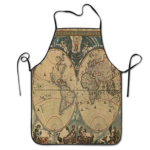Not Applicable Fecha Mapa Antiguo del Mundo Geografía histórica Tema Antiguo diseño Sucio Imprimir Delantal Unisex para Mujeres Hombres Camarera Chef Hogar Barbero Cocina Jardinería