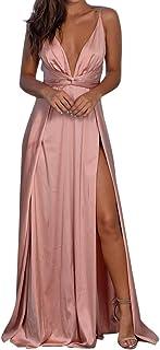 Mimfor Women Summer Dress Fashion Sexy V-Neck Print Sling Points Fork Sleeveless Summer Dress