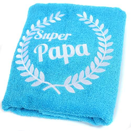 Abc Casa blaues Handtuch Super Papa für der Beste Papa zum Geburtstag, Vatertag, Valentinstag, Jahrestag-Alles Gute Geburtstagsgeschenk