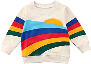 Unisex Baby Sun and Rainbow Sweatshirt Autumn Cotton Long Sleeve Shirt Top