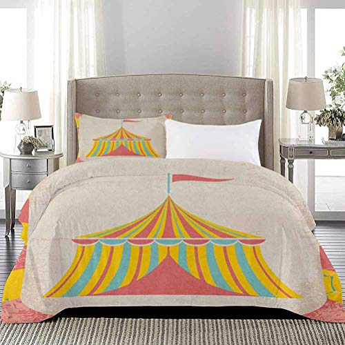 Three-Piece Bed Duvet Cover Circus Tent Illustration with Grunge Look Vintage Entertainment Carnival Theme Art Duvet Quilt Comforter Cover Extra Lightweight Modern Design Multicolor, Full Size